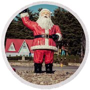 Vintage Santa Claus Christmas Card Round Beach Towel by Edward Fielding