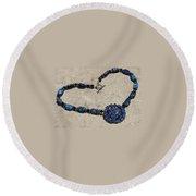 Vintage Sapphire Rhinestone Brooch Pendant Necklace 3635n Round Beach Towel
