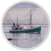 Vintage Sardine Carrier Michael Eileen Round Beach Towel