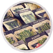 Vintage Seed Packages Round Beach Towel by Edward Fielding