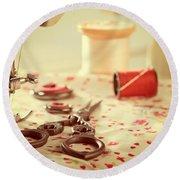 Vintage Sewing Items Round Beach Towel by Amanda Elwell