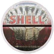 Vintage Shell Oil Rail Tanker Car Round Beach Towel