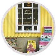Vintage Shop In Akureyri Iceland Round Beach Towel