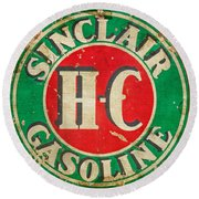 Vintage Sinclair Gasoline Sign Round Beach Towel