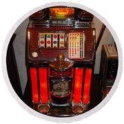 Vintage Slot Machine 25 Cents Round Beach Towel