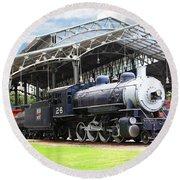 Vintage Steam Locomotive 5d29281 V2 Round Beach Towel