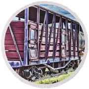 Vintage Steam Locomotive Carriages Round Beach Towel