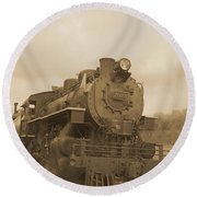 Vintage Steam Locomotive Round Beach Towel