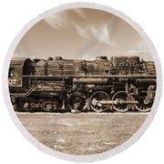 Vintage Steam Locomotive Round Beach Towel