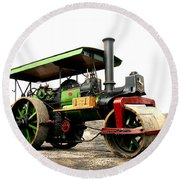 Vintage Steam Roller Round Beach Towel