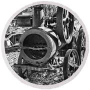 Vintage Steam Tractor Black And White Round Beach Towel by Douglas Barnard