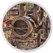 Vintage Steam Tractor Round Beach Towel by Douglas Barnard