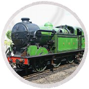 Vintage Steam Train In Green  Round Beach Towel