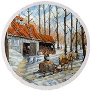 Vintage Sugar Shack By Prankearts Round Beach Towel