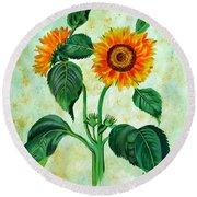 Vintage Sunflowers Round Beach Towel