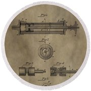 Vintage Syringe Patent Drawing Round Beach Towel