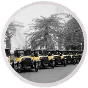 Vintage Taxis 3 Round Beach Towel