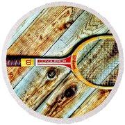 Vintage Tennis Round Beach Towel by Benjamin Yeager