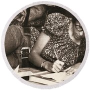 Vintage Young Woman Writing  Round Beach Towel