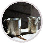 Vintage Tin Cups Round Beach Towel
