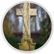 Vintage Tombstone Cross Round Beach Towel