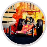 Vintage Top Fuel Dragster Fire Burnout-wild Bill Carter Round Beach Towel