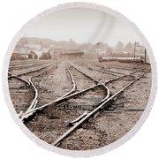 Vintage Tracks Round Beach Towel