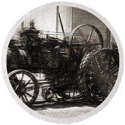Vintage Tractor Drawing In Industrialised 1900s Round Beach Towel