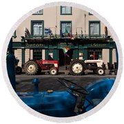 Vintage Tractors Lined Round Beach Towel