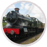Vintage Train Black Steam Engine Round Beach Towel