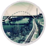 Vintage Train Tracks In Nashville Round Beach Towel