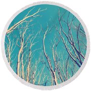 Vintage Trees Round Beach Towel