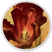 Vintage Tulips Round Beach Towel