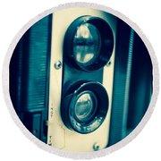 Vintage Twin Lens Reflex Camera Round Beach Towel by Edward Fielding