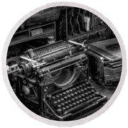 Vintage Typewriter Round Beach Towel by Adrian Evans