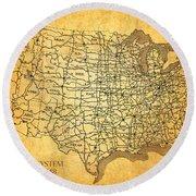 Vintage United States Highway System Map On Worn Canvas Round Beach Towel