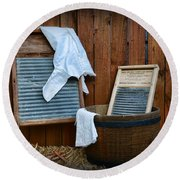 Vintage Washboard Laundry Day Round Beach Towel