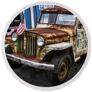 Vintage Willy's Jeep Pickup Truck Round Beach Towel