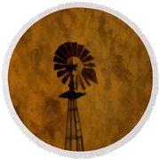 Vintage Windmill  Round Beach Towel