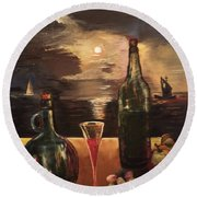 Vintage Wine Round Beach Towel