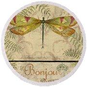 Vintage Wings-paris-e Round Beach Towel