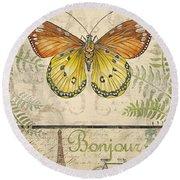 Vintage Wings-paris-l Round Beach Towel