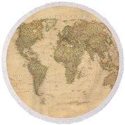 Vintage World Map Round Beach Towel