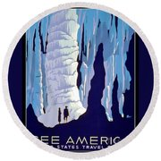 Vintage Wpa Poster See America Round Beach Towel by Edward Fielding