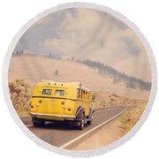 Vintage Yellowstone Bus Round Beach Towel