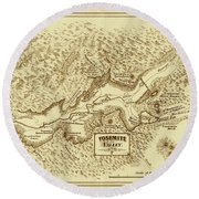 Vintage Yosemite Map 1870 Round Beach Towel