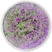 Violet And Green Round Beach Towel