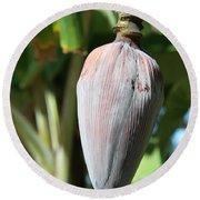 Violet Banana Blossom Round Beach Towel