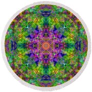 Violet Cosmos Mandala Round Beach Towel