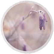 Violet Hazel  Round Beach Towel by Hannes Cmarits